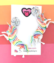 Load image into Gallery viewer, Rainbow unicorn sparkle dangles