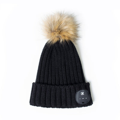 Bluetooth Beanie Dual Layered Black with Brown Faux Fur Pom Blu-Toque Caseco Inc