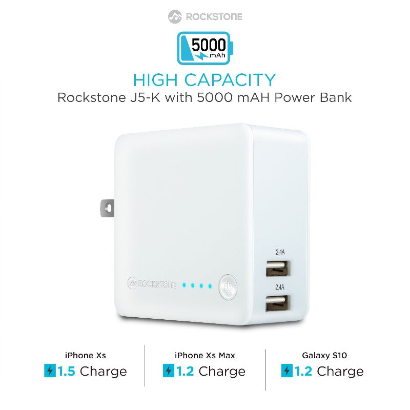 J5K 2 Port Wall Charger with 5000 mAH Power Bank Portable Chargers Rockstone