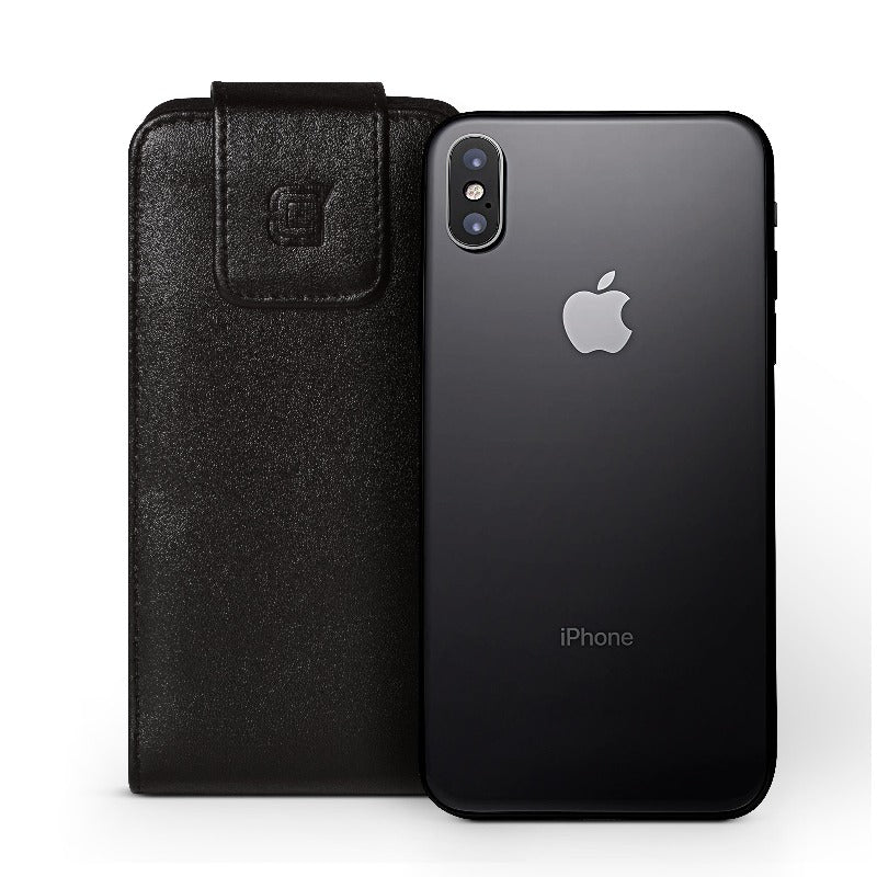 Vertical iPhone X / XS Faux Vegan leather belt clip holster pouch Pouch Caseco