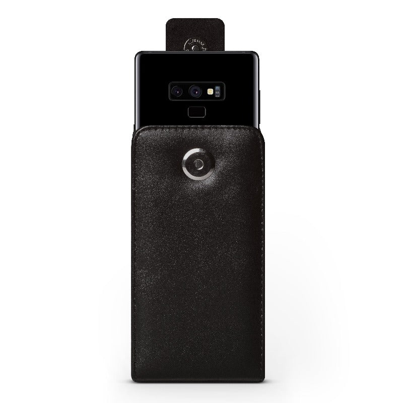 Vertical Samsung Galaxy Note 9 Faux Vegan leather belt clip holster pouch Holster Pouches Caseco