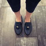 Ladies summer leather loafer in navy blue