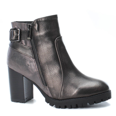 Heeled Biker Boot Pewter