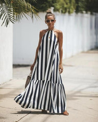 Summer maxi dress styled with navy wedge t-bar sandals