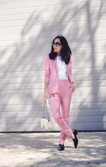 Baby pink suit with navy loafers ladies work wear style summer