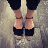 Ladies navy espadrille wedge sandal summer Lunar Jolie