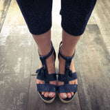 Navy wedge jute summer sandal. Leather t-bar Carmela