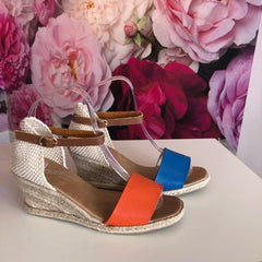 Ladies summer wedge espadrille sandals classic peep toe orange blue Lunar