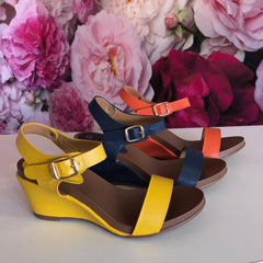 Ladies yellow, orange, navy wedge summer sandals Lunar