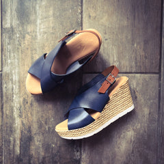Navy Summer Wedge sling back sandal
