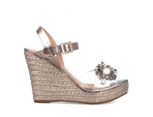 Ladies Menbur Pewter Wedge in Faux Leather 21313 Delivery Throughout UK