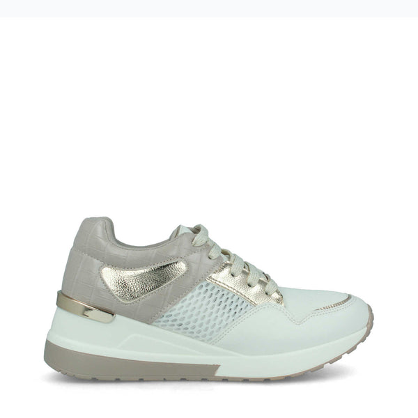 Ladies Menbur Taupe/White Faux Leather Trainer 21370