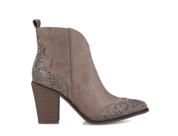 Ladies Menbur Taupe Faux Suede Ankle Boot 22179