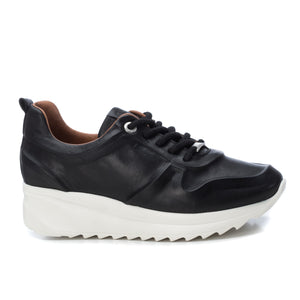 Ladies Carmela Leather Black Trainer 67143