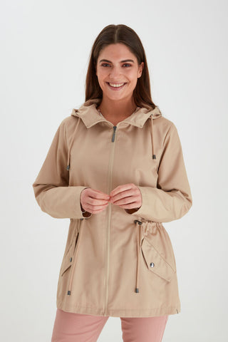 Ladies Fransa Oxford Tan Outerwear 8551
