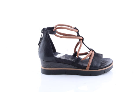 Ladies Mjus Leather Black Wedge Sandal 866059