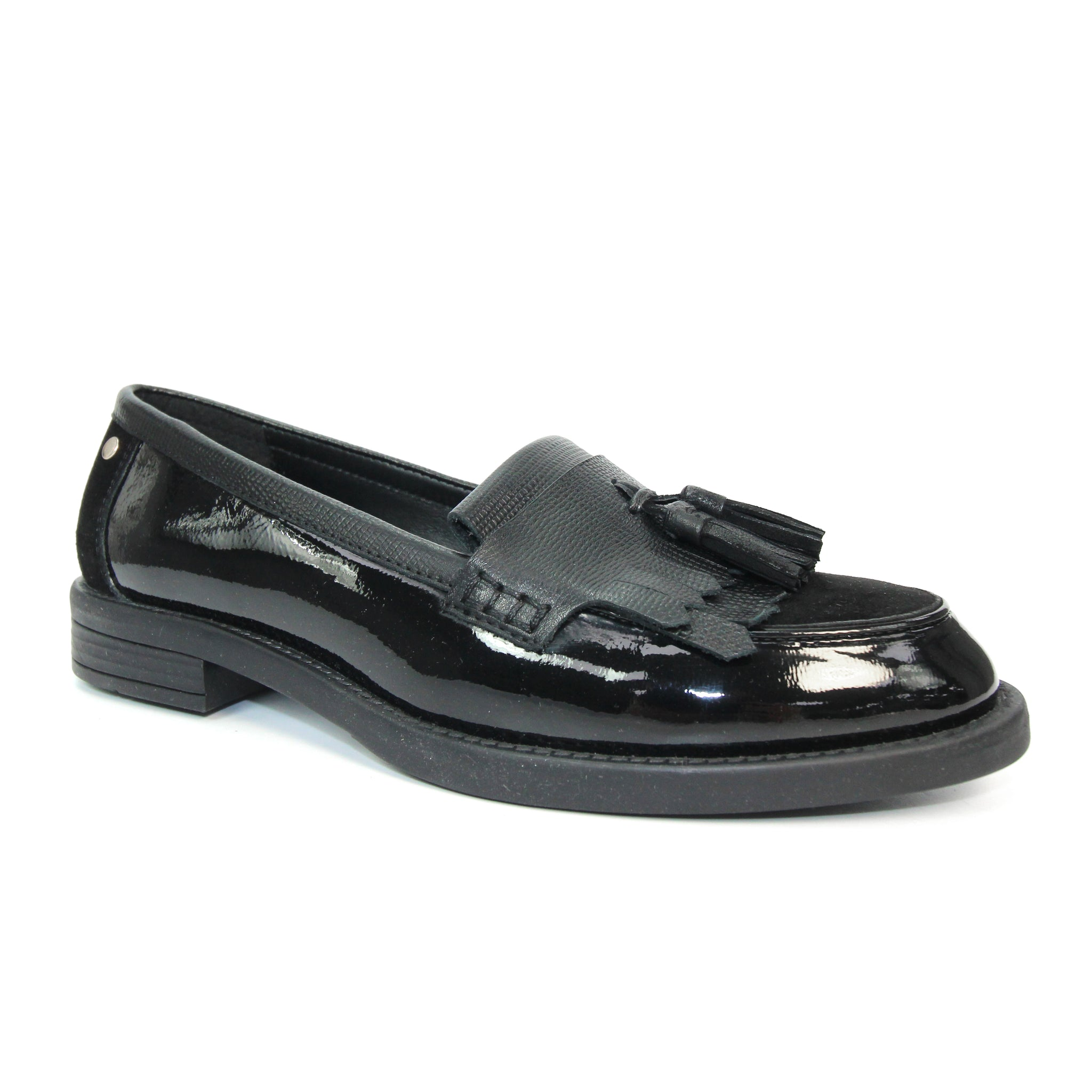 Ladies Lunar Black Leather Loafer Kerry