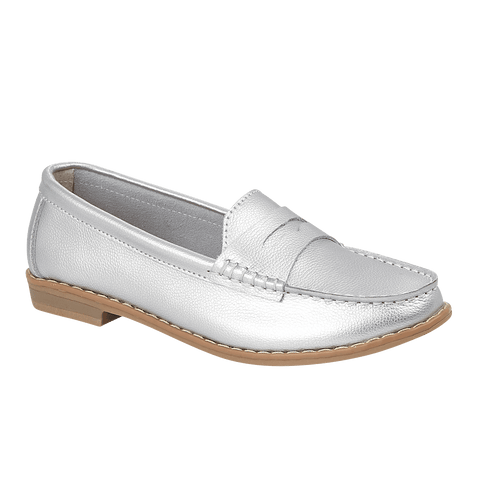 Ladies Emma Silver Leather Loafer Isobel Delivery Throughout UK