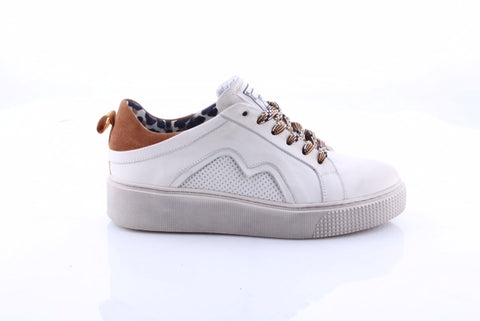 Ladies Mjus White Leather Trainer 08128