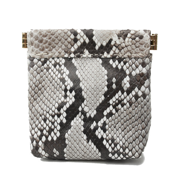 BARR MEDIUM FRAME POUCH, Natural Python