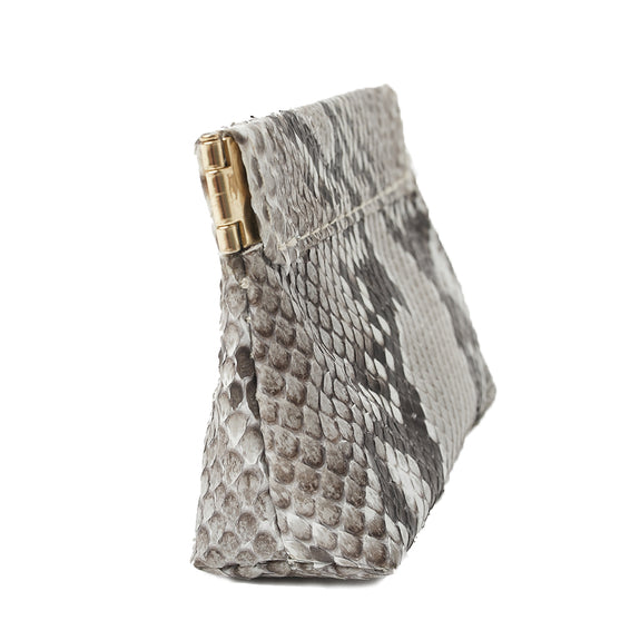 BELLE SMALL FRAME POUCH, Natural Python