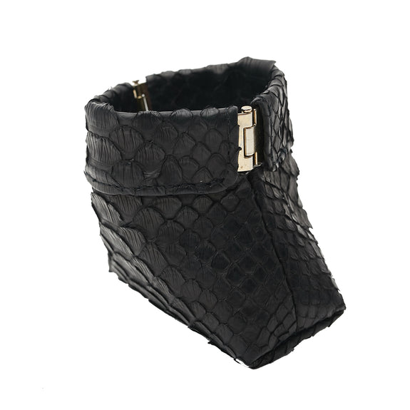 BELLE SMALL FRAME POUCH, Black Python