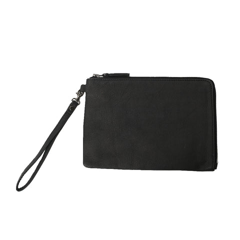 BLY CLUTCH, Black Embossed Leather