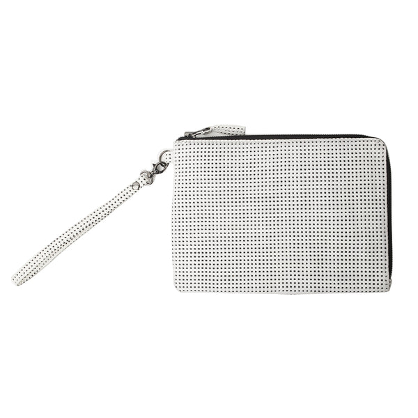 BLY CLUTCH, White Laser-Cut Lambskin