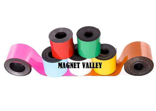 25' Dry Erase Magnetic Strip Rolls White and Colors for Shelf Label Magnets