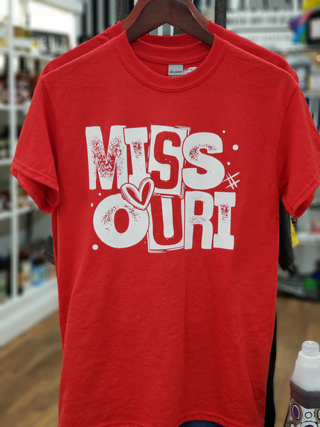 Missouri T-shirt - Red with Heart