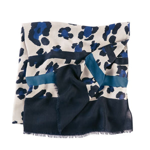 Striped Leopard Scarf Blue