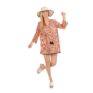 Lacey Pom Pom Cover Up Peach Leopard