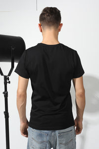 Basic T-shirt with stamp - Black - PLM T-Shirts