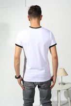 Load image into Gallery viewer, Colored Edges T-shirt with stamp - White