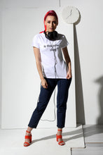 Load image into Gallery viewer, Raglan T-shirt with stamp - White - PLM T-Shirts