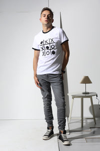 Colored Edges T-shirt with stamp - White
