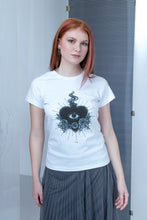 Load image into Gallery viewer, Raglan T-shirt with stamp - White