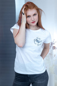 Flamed T-shirt with stamp - White