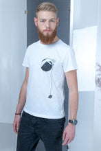 Load image into Gallery viewer, Flamed T-shirt with stamp - White - PLM T-Shirts