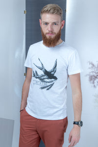 Flamed T-shirt with stamp - White - PLM T-Shirts