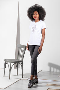 Raglan T-shirt with stamp - White - PLM T-Shirts