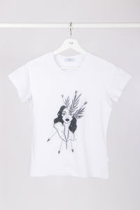 Raglan T-shirt with stamp - White