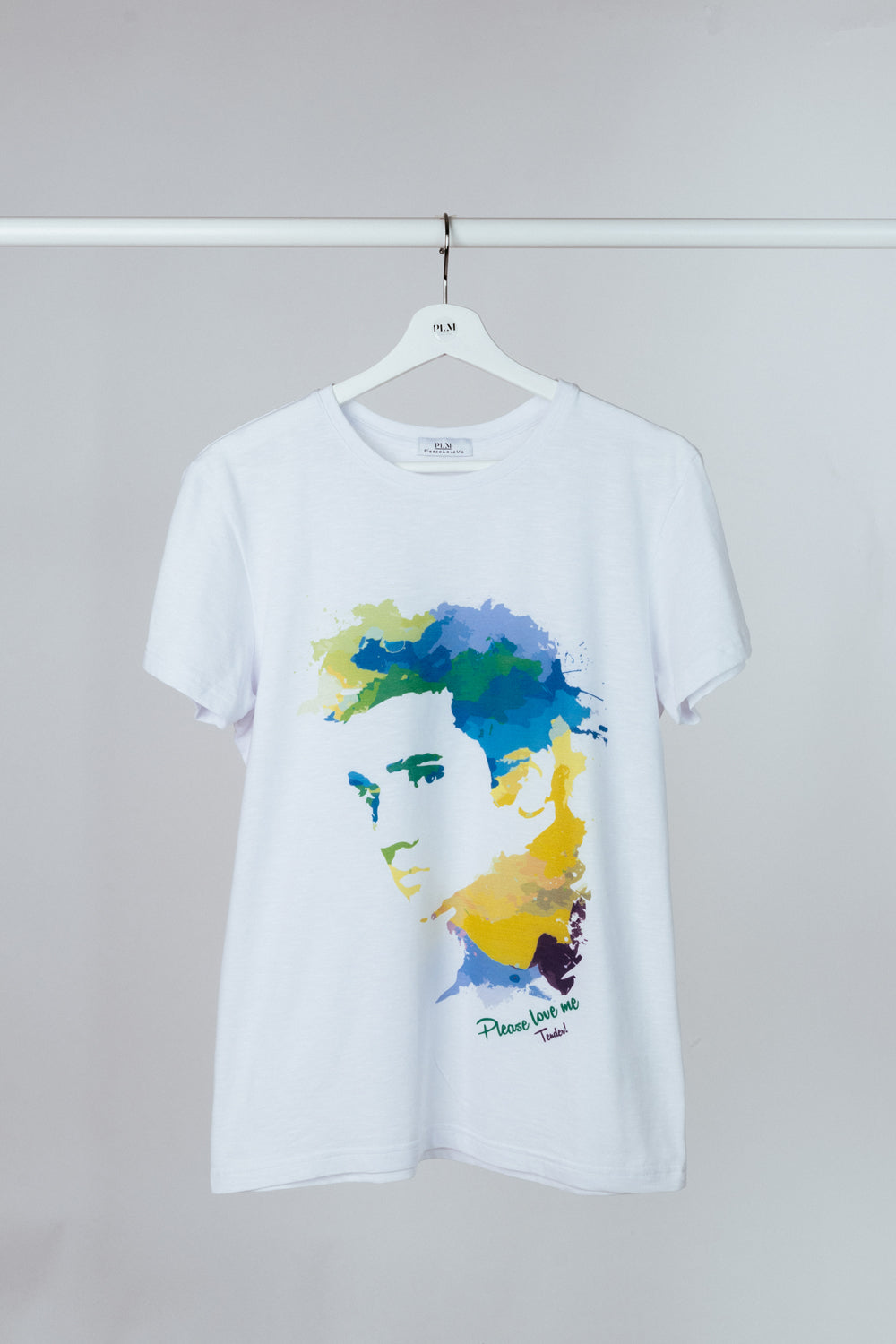 Organic T-shirt with stamp - White