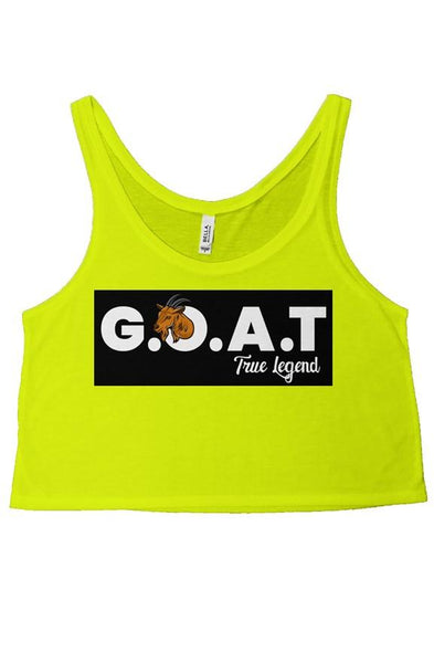 WOMENS GOAT CROP TOP HIGHLIGHTER YELLOW