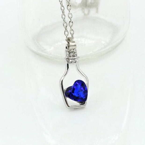 Crystal Heart in a Bottle Necklace - Trendmart