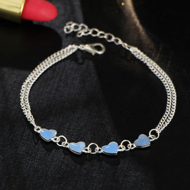 Double Chain Glowing Hearts Anklet - Trendmart