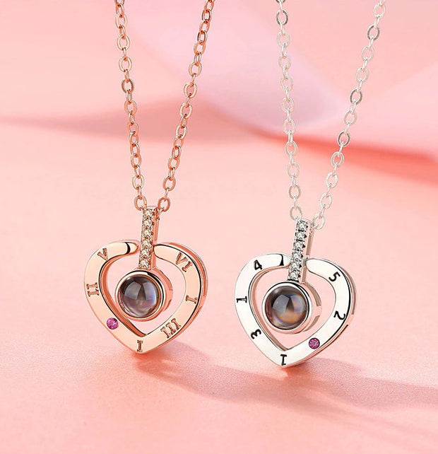 'I Love You' in 100 Languages Projection Necklace Heart