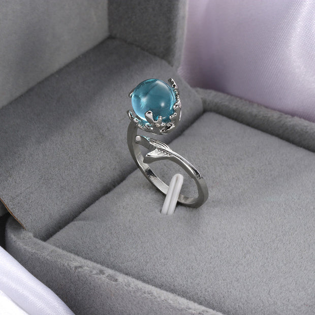 Blue Crystal Mermaid Ring - Trendmart