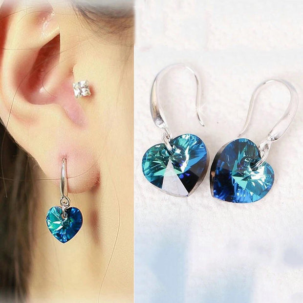 Crystal Blue Heart Earrings - Trendmart