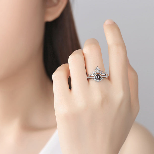 'I Love You' in 100 Languages Projection (Crown) Ring - Trendmart
